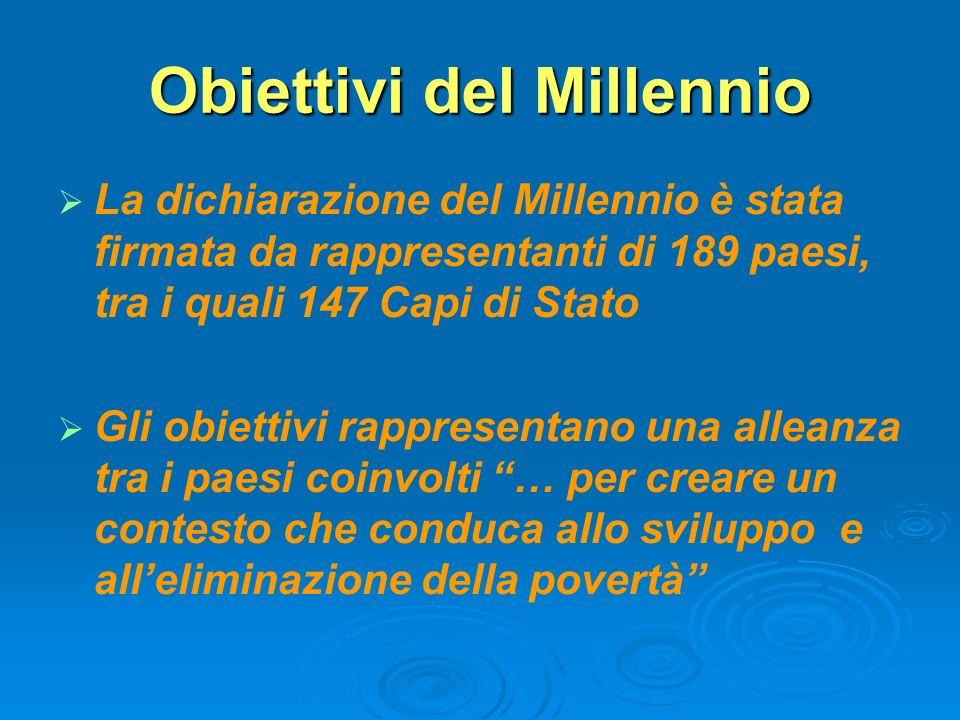 Obiettivi del Millennio La dichiarazione del Millennio è stata firmata da rappresentanti di 189 paesi, tra i quali 147 Capi di Stato Gli obiettivi rap