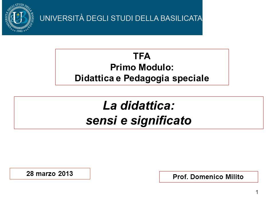 1 Prof. Domenico Milito La didattica: sensi e significato TFA Primo Modulo: Didattica e Pedagogia speciale 28 marzo 2013