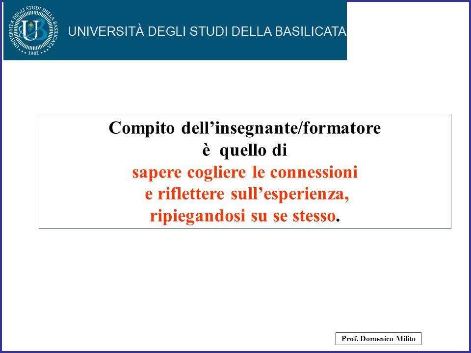 11 Compito dellinsegnante/formatore è quello di sapere cogliere le connessioni e riflettere sullesperienza, ripiegandosi su se stesso. Prof. Domenico