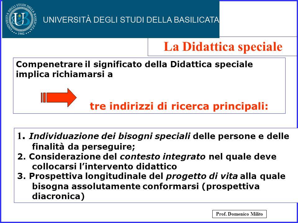 Compenetrare il significato della Didattica speciale implica richiamarsi a tre indirizzi di ricerca principali: 1. Individuazione dei bisogni speciali
