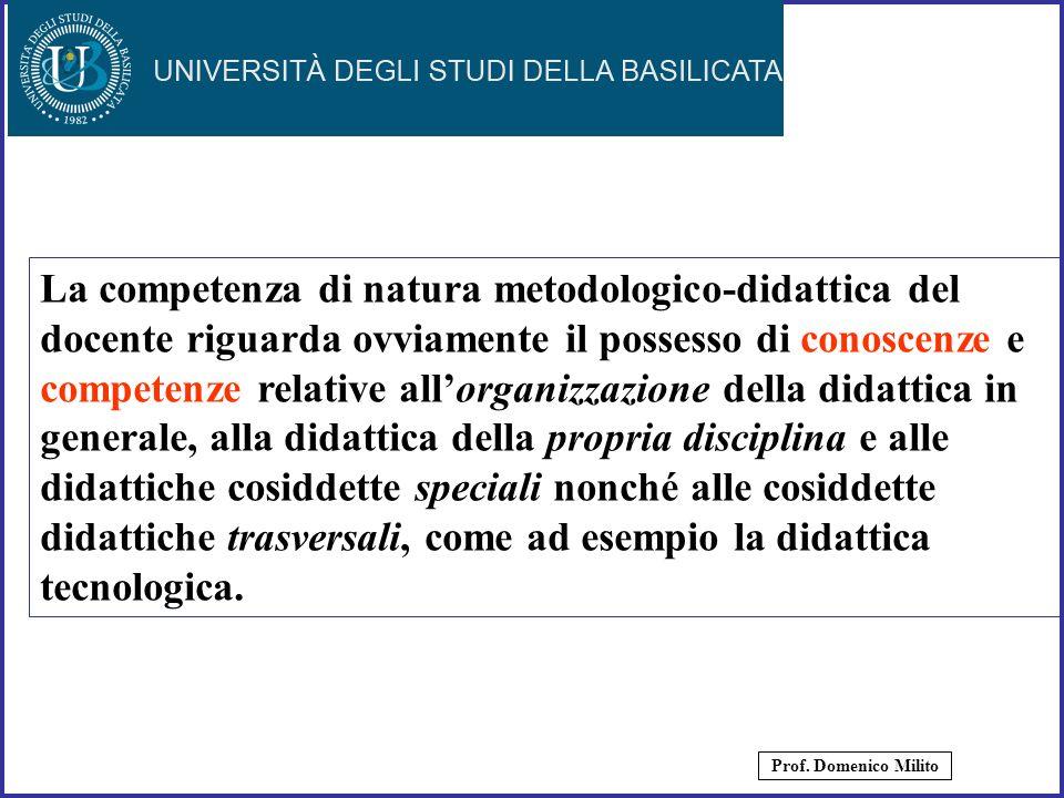 6 La competenza di natura metodologico-didattica del docente riguarda ovviamente il possesso di conoscenze e competenze relative allorganizzazione del