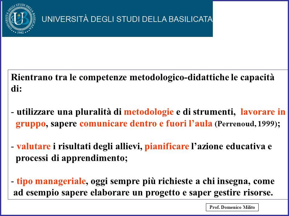 7 Rientrano tra le competenze metodologico-didattiche le capacità di: - utilizzare una pluralità di metodologie e di strumenti, lavorare in gruppo, sa
