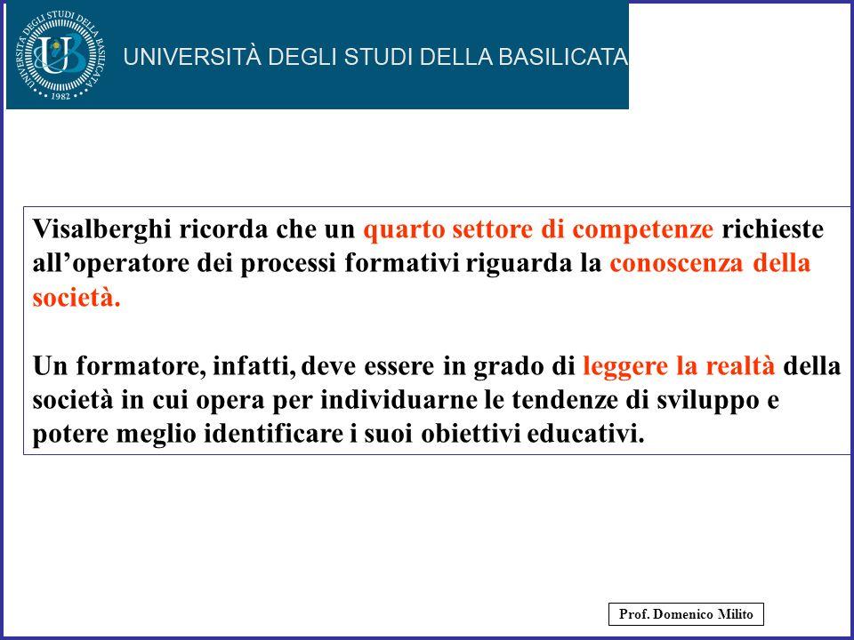 8 Visalberghi ricorda che un quarto settore di competenze richieste alloperatore dei processi formativi riguarda la conoscenza della società. Un forma