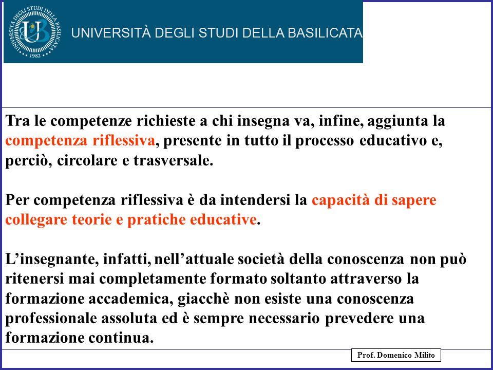 9 Tra le competenze richieste a chi insegna va, infine, aggiunta la competenza riflessiva, presente in tutto il processo educativo e, perciò, circolar