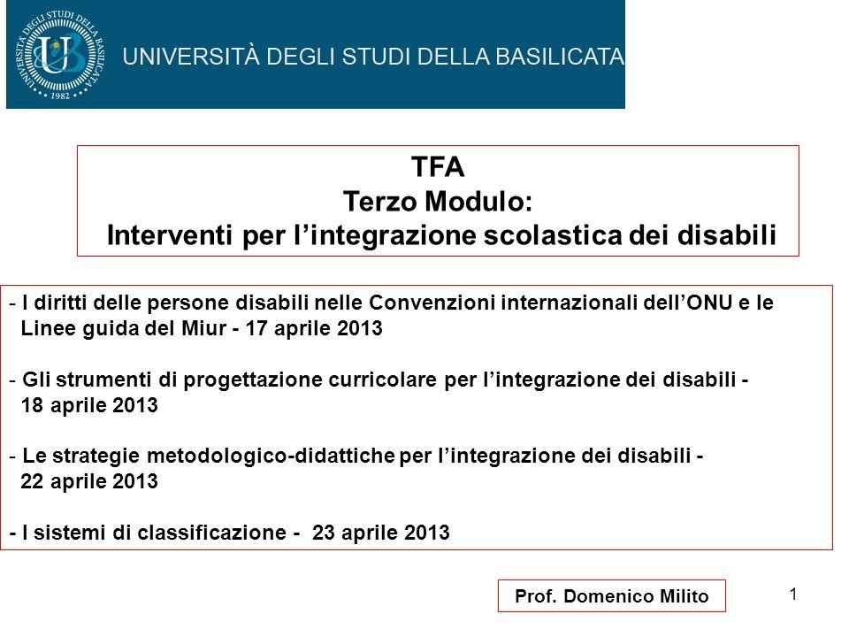 1 Prof. Domenico Milito TFA Terzo Modulo: Interventi per lintegrazione scolastica dei disabili - I diritti delle persone disabili nelle Convenzioni in