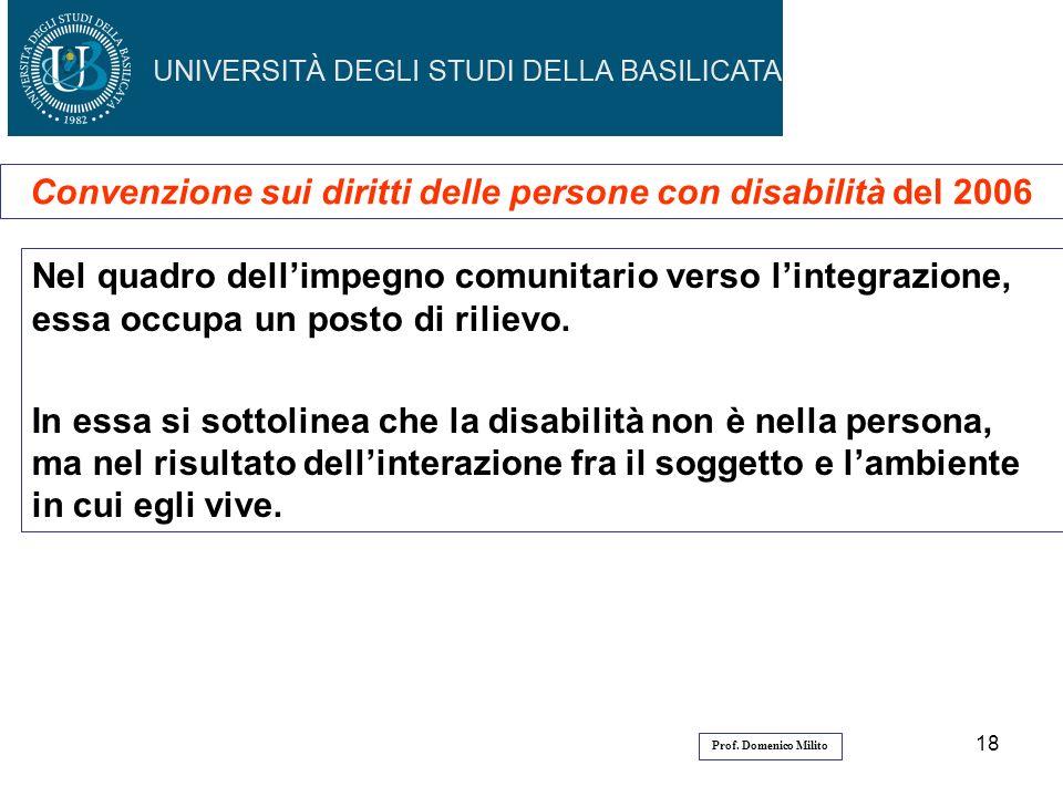 18 Convenzione sui diritti delle persone con disabilità del 2006 Nel quadro dellimpegno comunitario verso lintegrazione, essa occupa un posto di rilie