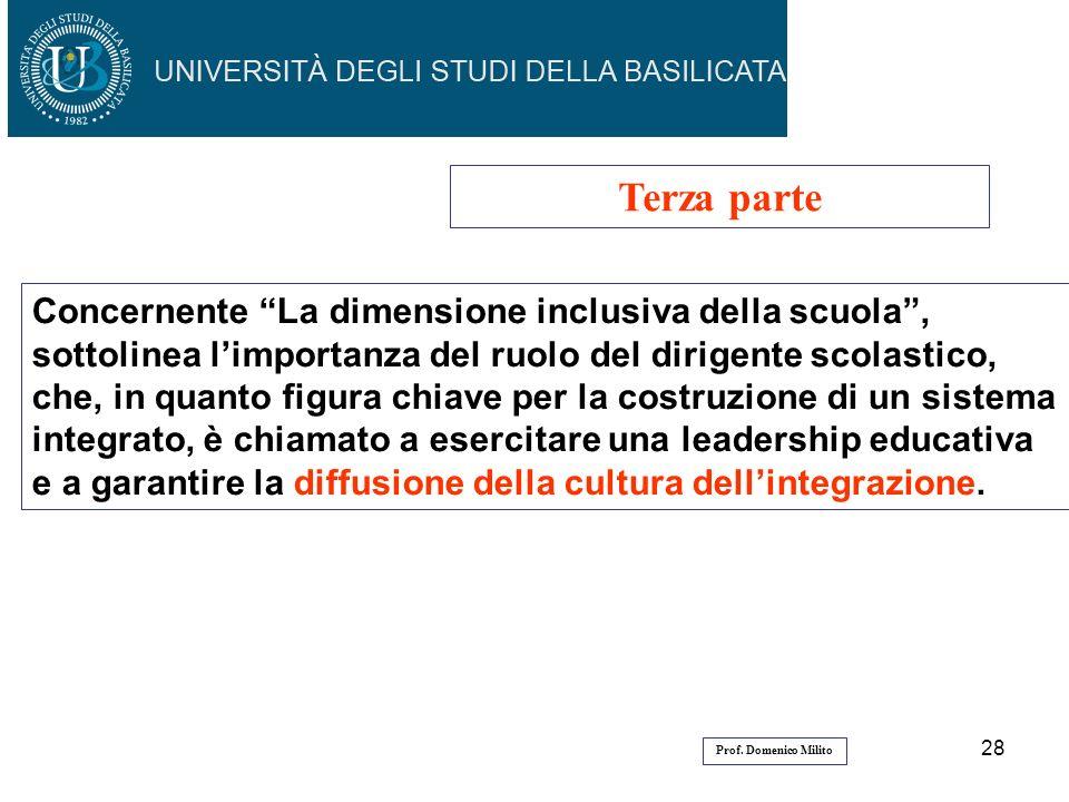 28 Terza parte Concernente La dimensione inclusiva della scuola, sottolinea limportanza del ruolo del dirigente scolastico, che, in quanto figura chia