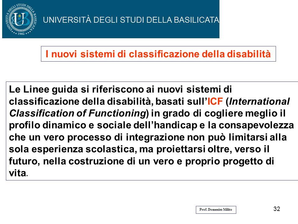 32 I nuovi sistemi di classificazione della disabilità Le Linee guida si riferiscono ai nuovi sistemi di classificazione della disabilità, basati sull