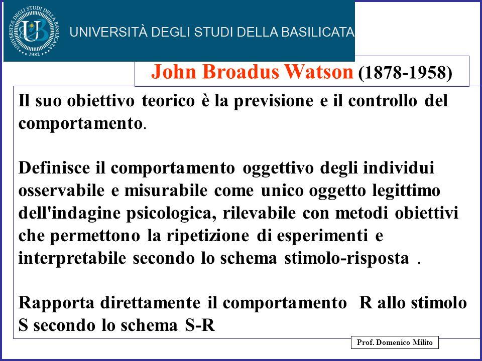 12 Il suo obiettivo teorico è la previsione e il controllo del comportamento. Definisce il comportamento oggettivo degli individui osservabile e misur