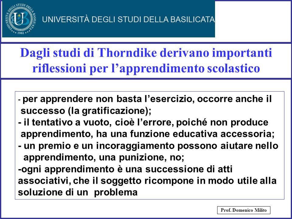 16 Dagli studi di Thorndike derivano importanti riflessioni per lapprendimento scolastico Prof. Domenico Milito - per apprendere non basta lesercizio,