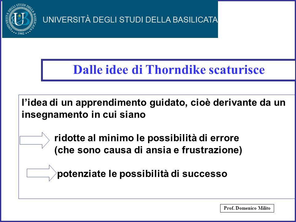 17 Dalle idee di Thorndike scaturisce Prof. Domenico Milito lidea di un apprendimento guidato, cioè derivante da un insegnamento in cui siano ridotte