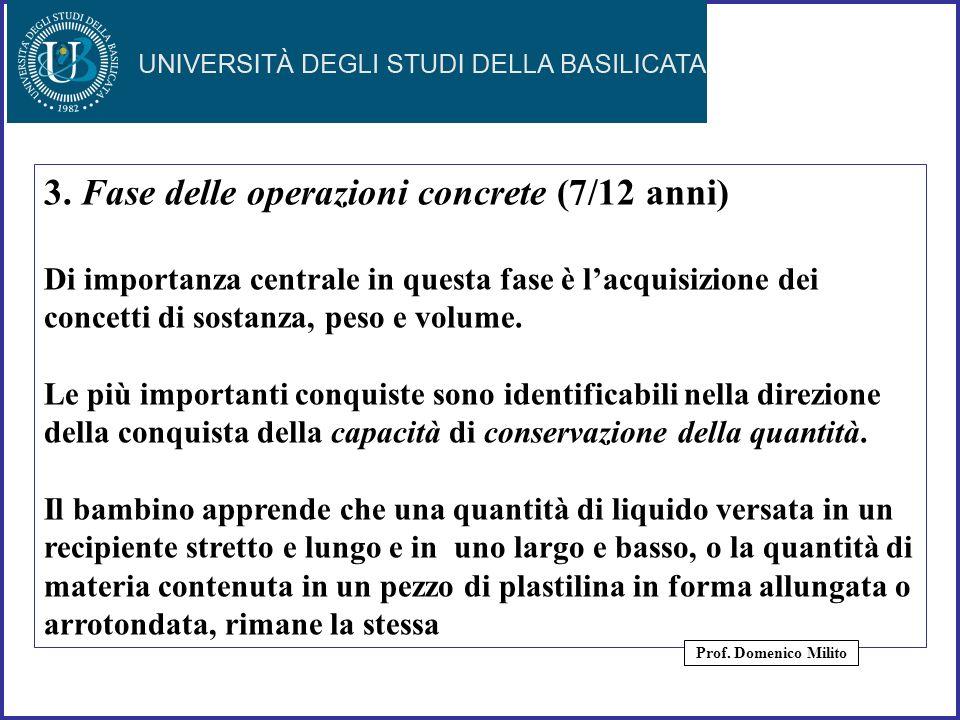 24 3. Fase delle operazioni concrete (7/12 anni) Di importanza centrale in questa fase è lacquisizione dei concetti di sostanza, peso e volume. Le più