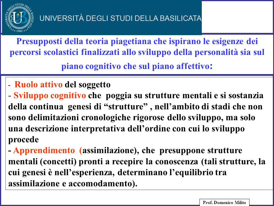 26 Presupposti della teoria piagetiana che ispirano le esigenze dei percorsi scolastici finalizzati allo sviluppo della personalità sia sul piano cogn