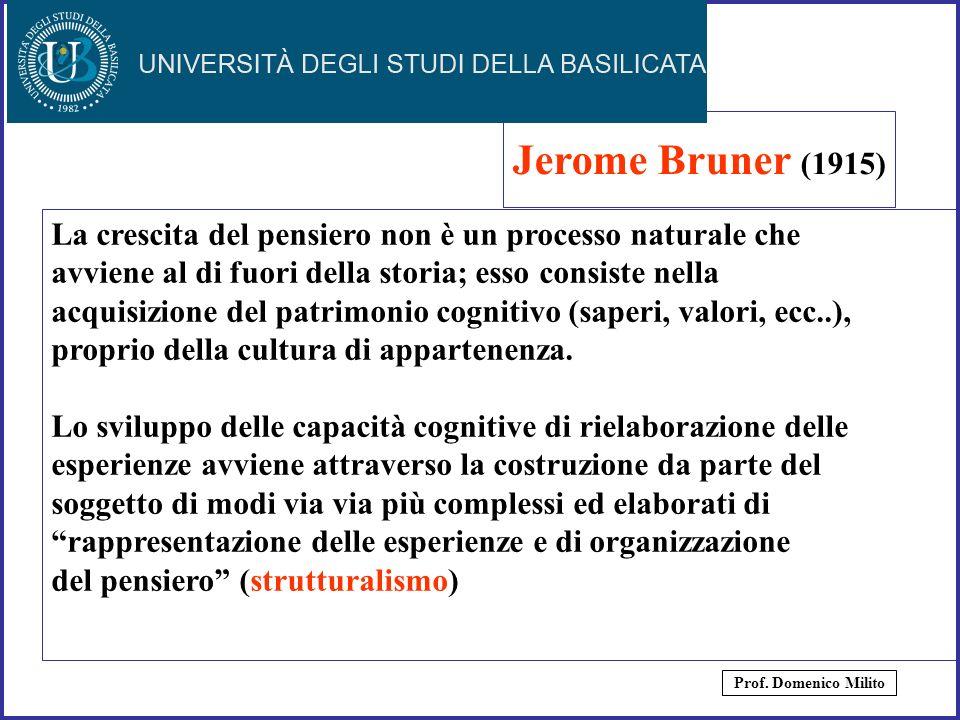 28 Jerome Bruner (1915) La crescita del pensiero non è un processo naturale che avviene al di fuori della storia; esso consiste nella acquisizione del