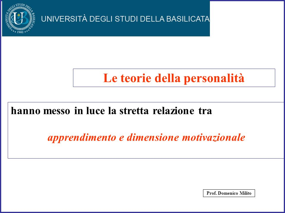35 hanno messo in luce la stretta relazione tra apprendimento e dimensione motivazionale Le teorie della personalità Prof. Domenico Milito