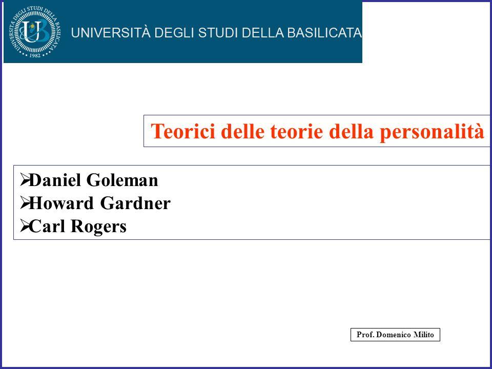36 Daniel Goleman Howard Gardner Carl Rogers Teorici delle teorie della personalità Prof. Domenico Milito