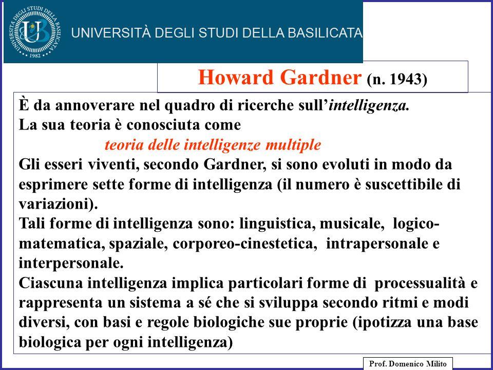 38 È da annoverare nel quadro di ricerche sullintelligenza. La sua teoria è conosciuta come teoria delle intelligenze multiple Gli esseri viventi, sec