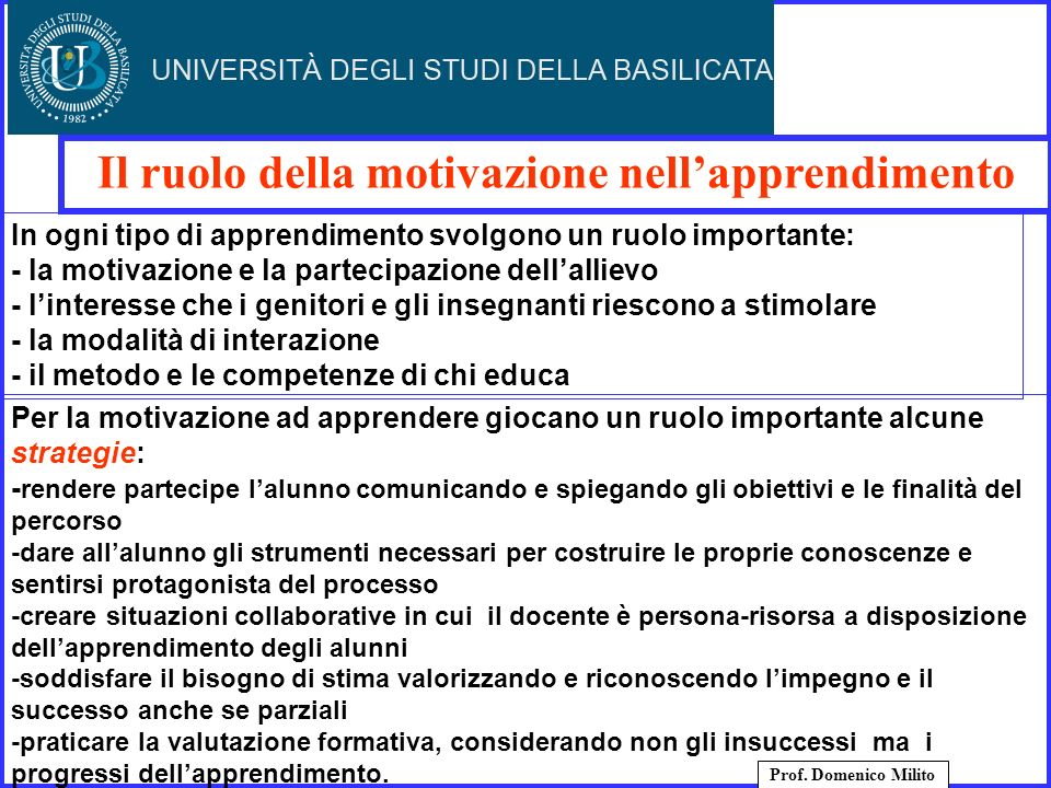 Il ruolo della motivazione nellapprendimento Prof. Domenico Milito Per la motivazione ad apprendere giocano un ruolo importante alcune strategie: - re