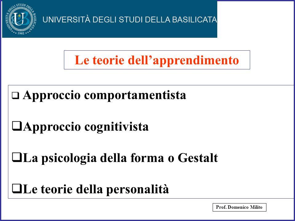 5 Approccio comportamentista Approccio cognitivista La psicologia della forma o Gestalt Le teorie della personalità Le teorie dellapprendimento Prof.