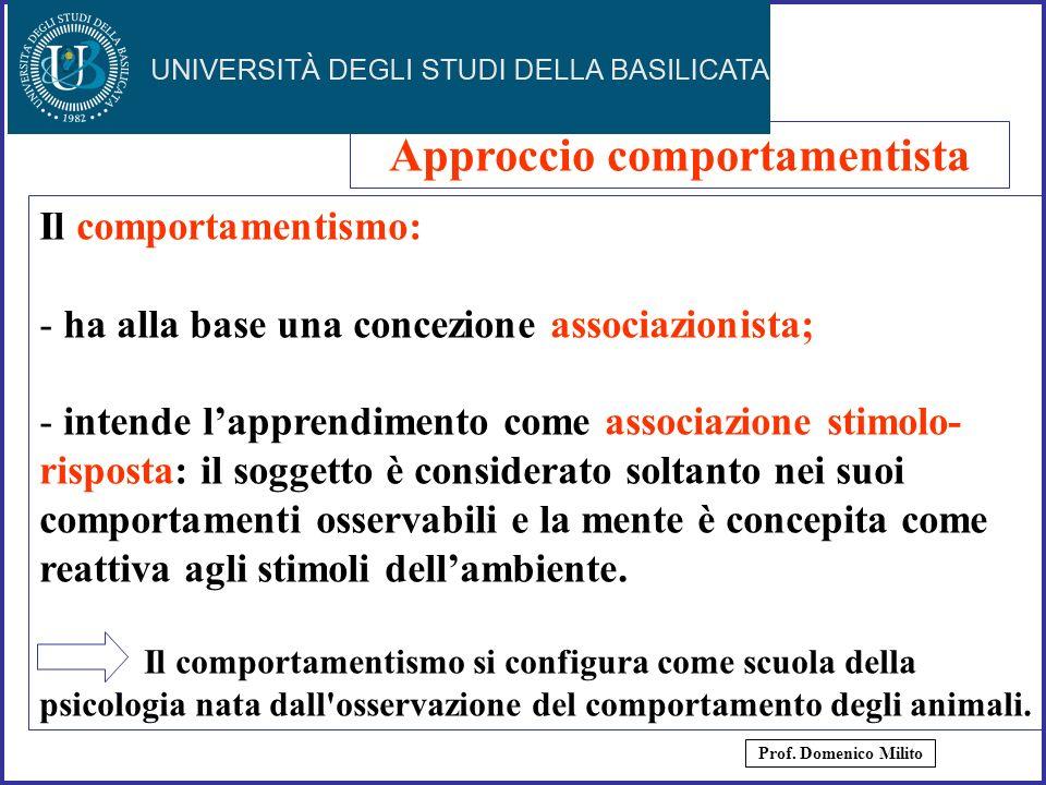 6 Il comportamentismo: - ha alla base una concezione associazionista; - intende lapprendimento come associazione stimolo- risposta: il soggetto è cons