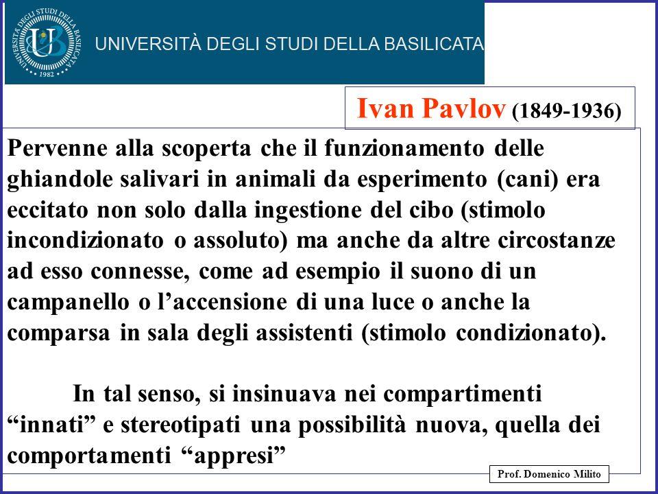 8 Ivan Pavlov (1849-1936) Pervenne alla scoperta che il funzionamento delle ghiandole salivari in animali da esperimento (cani) era eccitato non solo