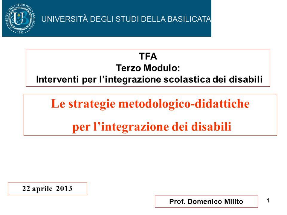 1 Prof. Domenico Milito Le strategie metodologico-didattiche per lintegrazione dei disabili 22 aprile 2013 TFA Terzo Modulo: Interventi per lintegrazi