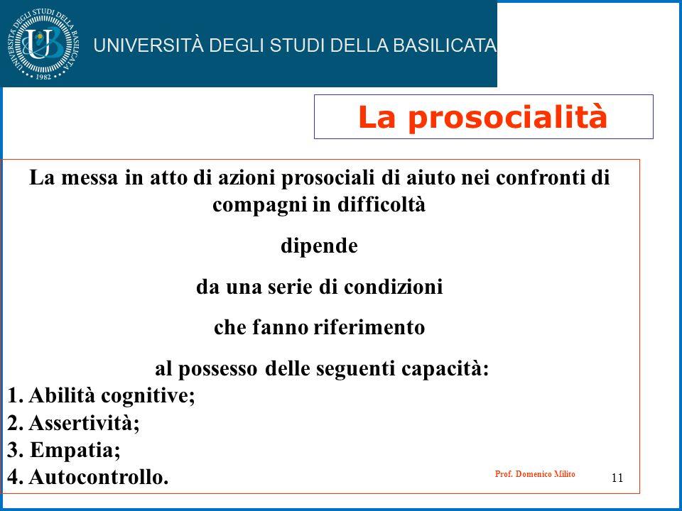 11 La prosocialità La messa in atto di azioni prosociali di aiuto nei confronti di compagni in difficoltà dipende da una serie di condizioni che fanno