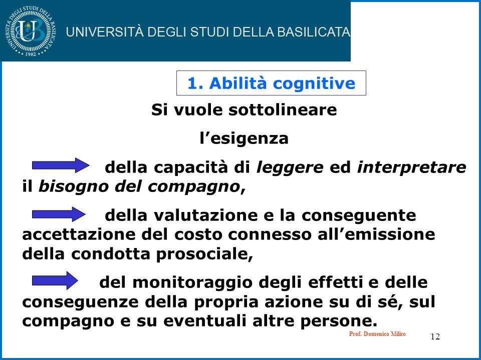 12 1. Abilità cognitive Si vuole sottolineare lesigenza della capacità di leggere ed interpretare il bisogno del compagno, della valutazione e la cons