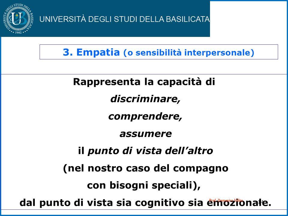 14 3. Empatia (o sensibilità interpersonale) Rappresenta la capacità di discriminare, comprendere, assumere il punto di vista dellaltro (nel nostro ca