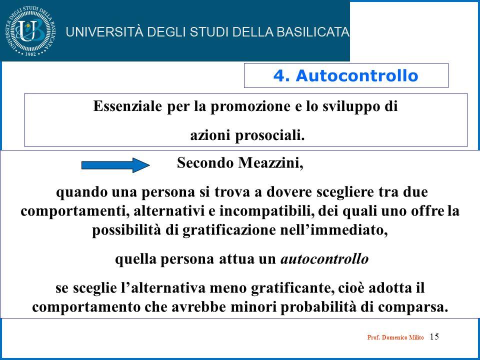 15 4. Autocontrollo Essenziale per la promozione e lo sviluppo di azioni prosociali. Secondo Meazzini, quando una persona si trova a dovere scegliere