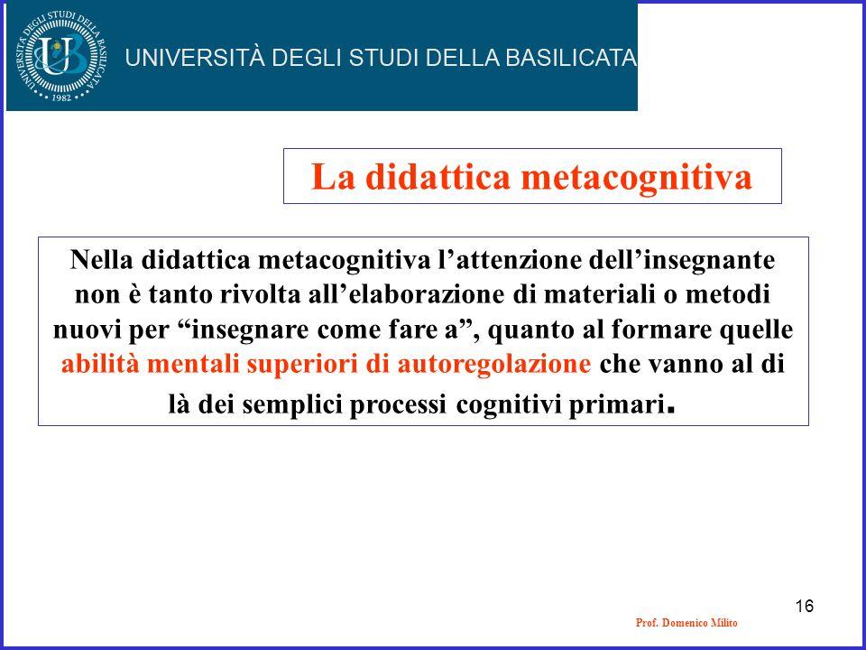 La didattica metacognitiva Nella didattica metacognitiva lattenzione dellinsegnante non è tanto rivolta allelaborazione di materiali o metodi nuovi pe