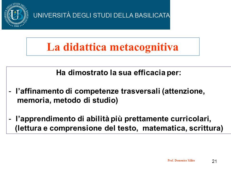 21 La didattica metacognitiva Ha dimostrato la sua efficacia per: - laffinamento di competenze trasversali (attenzione, memoria, metodo di studio) - l