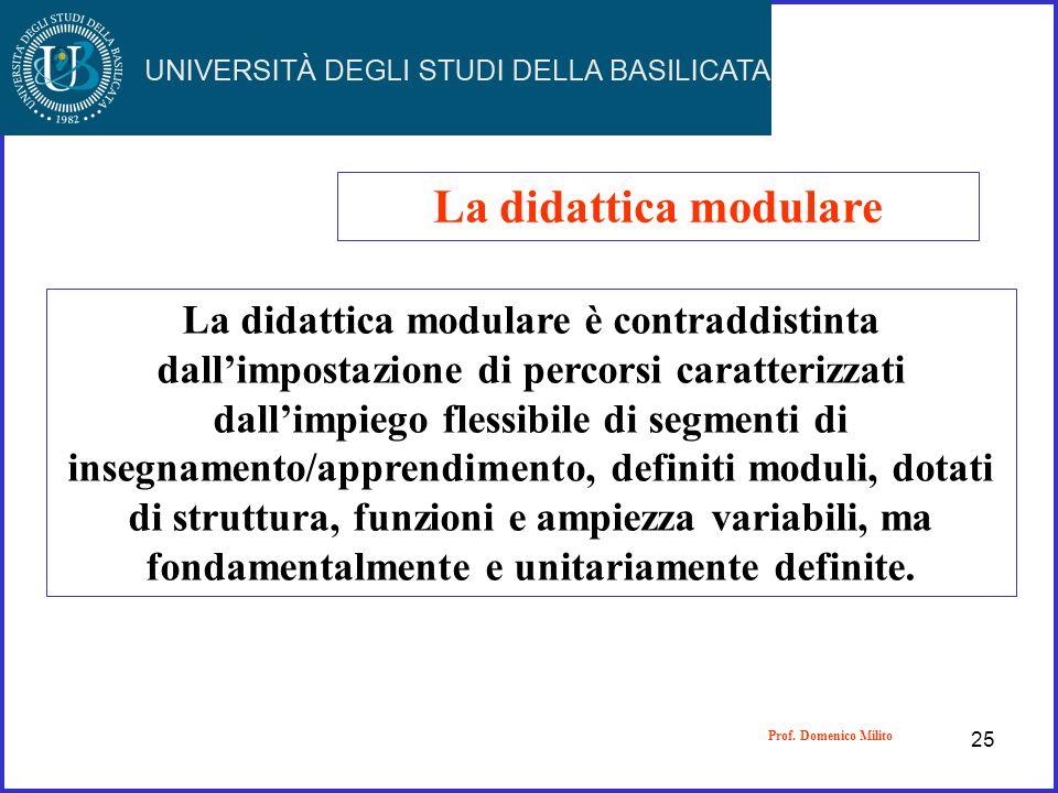 La didattica modulare La didattica modulare è contraddistinta dallimpostazione di percorsi caratterizzati dallimpiego flessibile di segmenti di insegn
