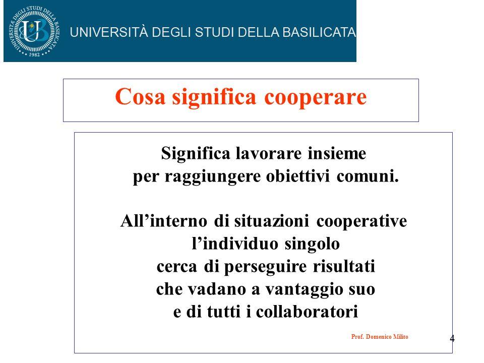 Cosa significa cooperare Significa lavorare insieme per raggiungere obiettivi comuni. Allinterno di situazioni cooperative lindividuo singolo cerca di
