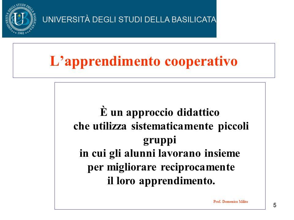Lapprendimento cooperativo È un approccio didattico che utilizza sistematicamente piccoli gruppi in cui gli alunni lavorano insieme per migliorare rec