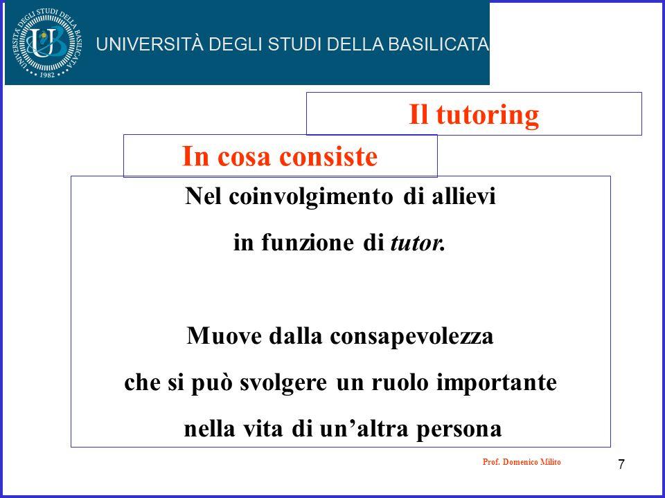 Il tutoring In cosa consiste Nel coinvolgimento di allievi in funzione di tutor. Muove dalla consapevolezza che si può svolgere un ruolo importante ne
