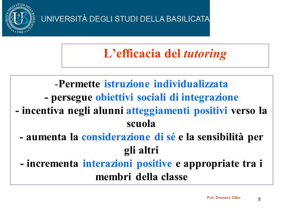8 Lefficacia del tutoring -Permette istruzione individualizzata - persegue obiettivi sociali di integrazione - incentiva negli alunni atteggiamenti po