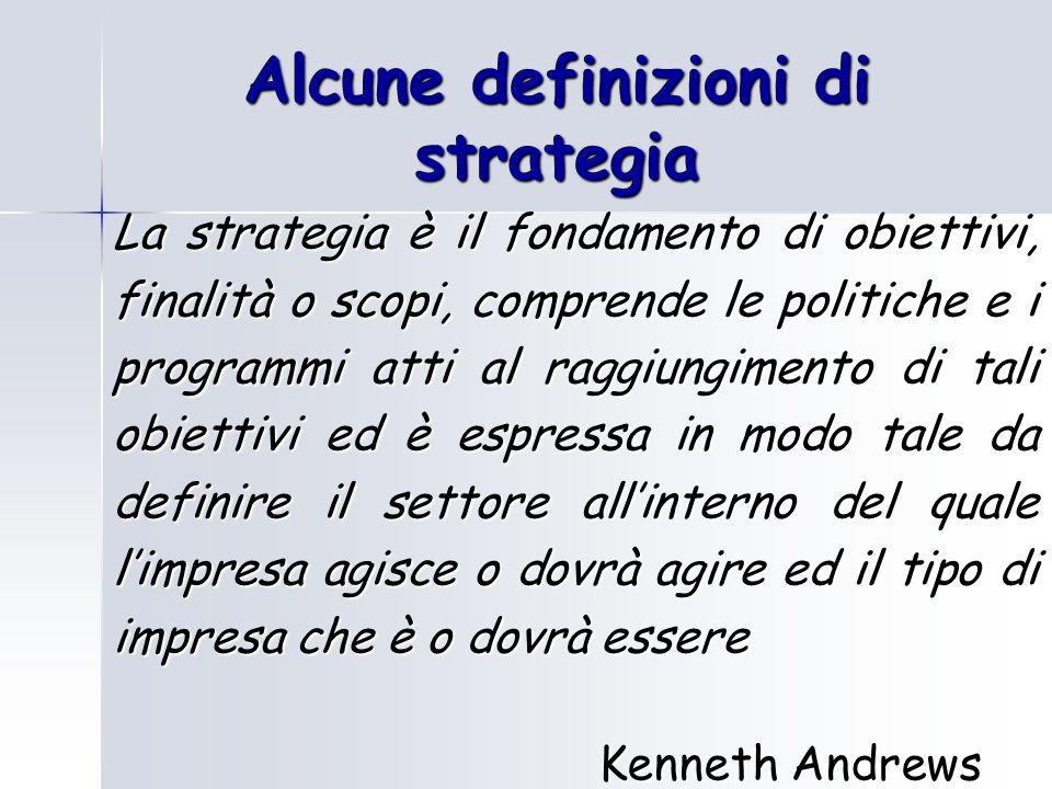 Alcune definizioni di strategia La strategia è il fondamento di obiettivi, finalità o scopi, comprende le politiche e i programmi atti al raggiungimen