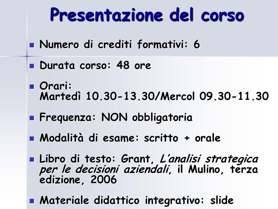 Presentazione del corso Numero di crediti formativi: 6 Numero di crediti formativi: 6 Durata corso: 48 ore Durata corso: 48 ore Orari: Orari: Martedì