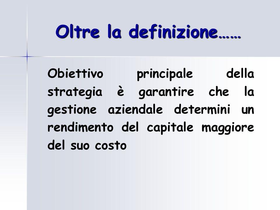 Oltre la definizione…… Obiettivo principale della strategia è garantire che la gestione aziendale determini un rendimento del capitale maggiore del su