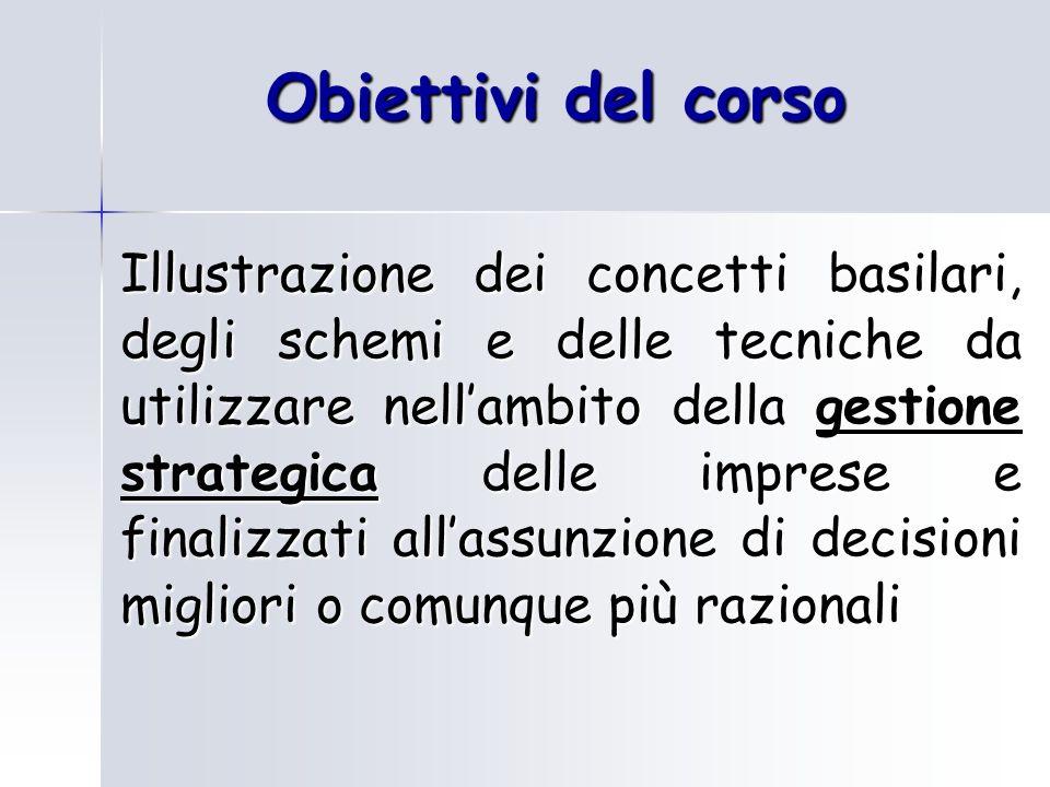 Obiettivi del corso Illustrazione dei concetti basilari, degli schemi e delle tecniche da utilizzare nellambito della gestione strategica delle impres