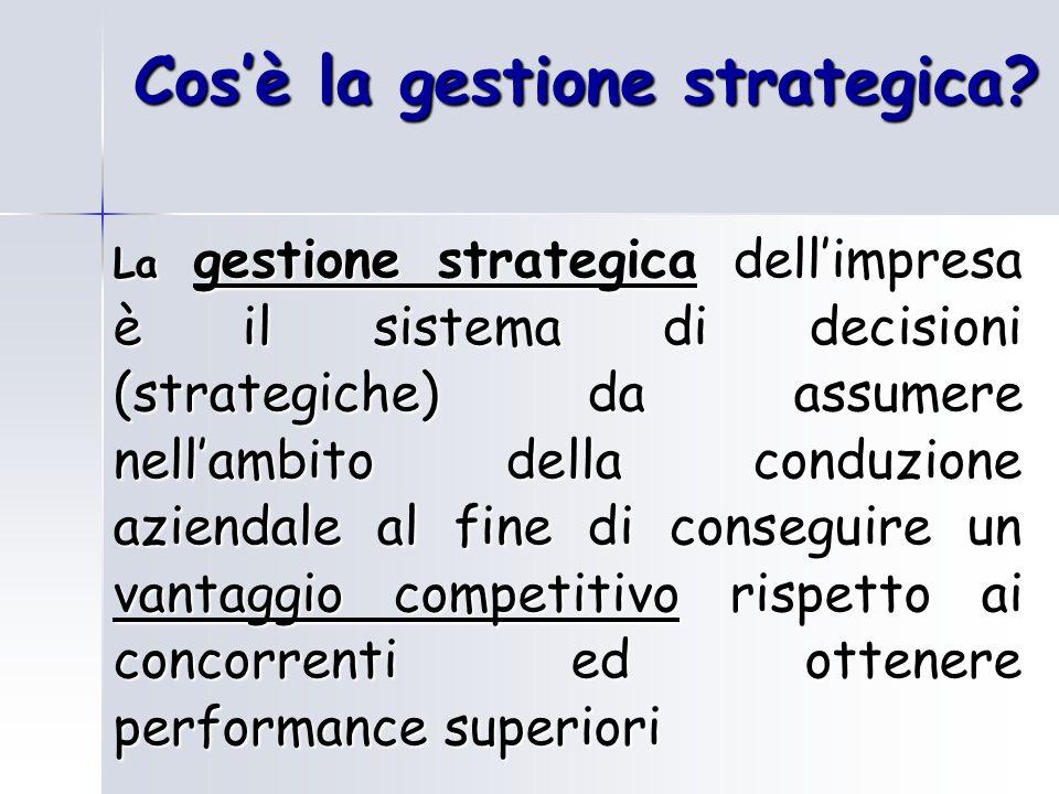 Cosè la gestione strategica? La gestione strategica dellimpresa è il sistema di decisioni (strategiche) da assumere nellambito della conduzione aziend