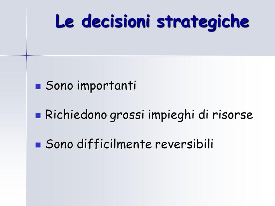 Le decisioni strategiche Sono importanti Sono importanti Richiedono grossi impieghi di risorse Richiedono grossi impieghi di risorse Sono difficilment