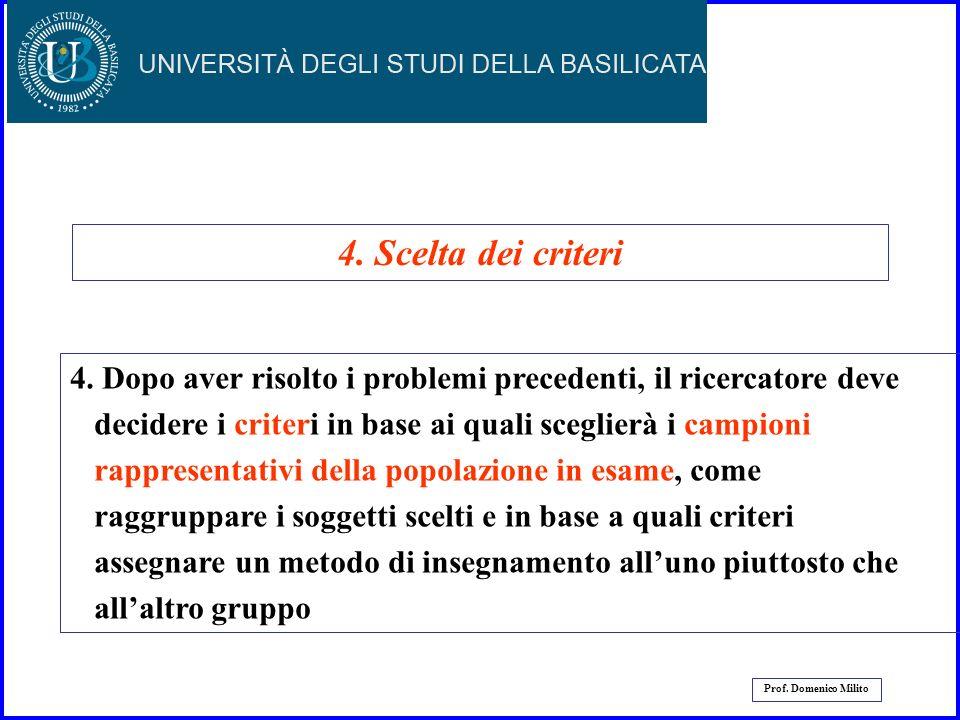 18 Prof. Domenico Milito 3. Il ricercatore deve prendere in considerazione tanto il piano dellesperimento che i soggetti da utilizzare. Per esempio, l