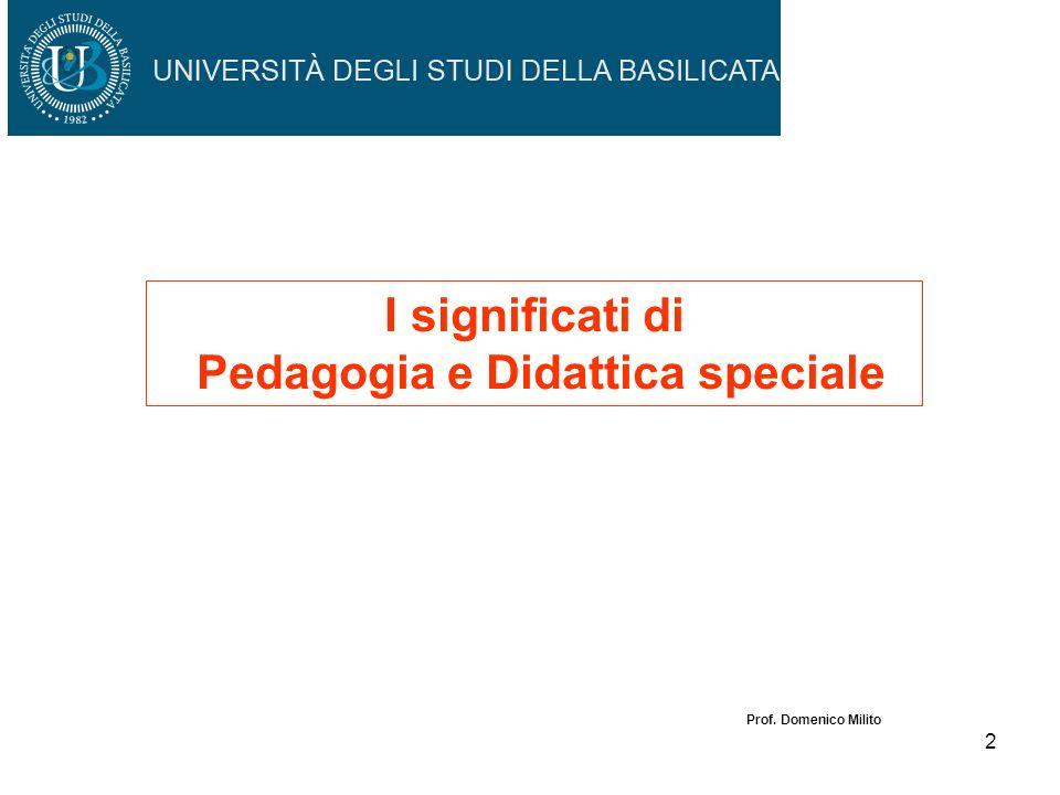 1 Pedagogia e didattica speciale: processi e strumenti sperimentali Prof. Domenico Milito TFA Primo Modulo: Didattica e Pedagogia speciale 2 aprile 20
