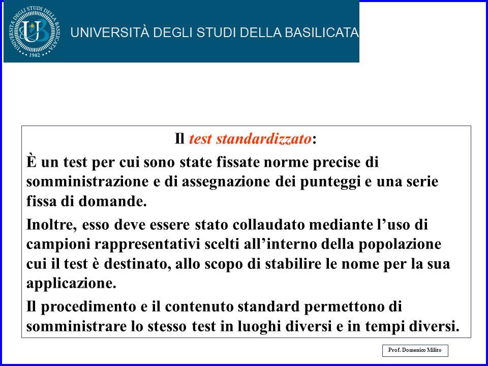 22 Prof. Domenico Milito I Test I test trovano larga applicazione nel campo delleducazione, della psicologia e della psichiatria; sono tra i più utili