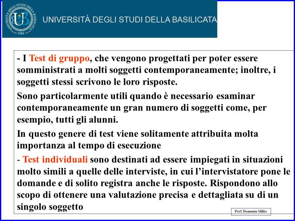 24 Prof. Domenico Milito Tipi di test I test possono essere classificati in molti modi diversi: - Test di gruppo - Test individuali - Test carta e mat