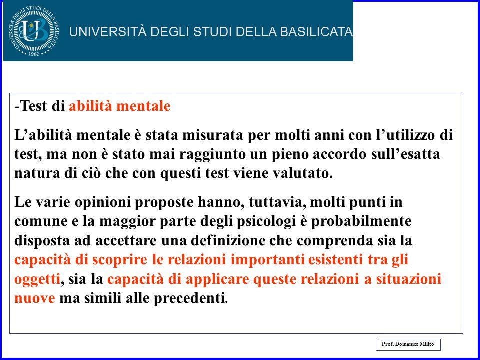 28 Prof. Domenico Milito Altri tipi di test I test possono essere classificati sulla base dei fenomeni che devono misurare. Si dividono in : - Test di