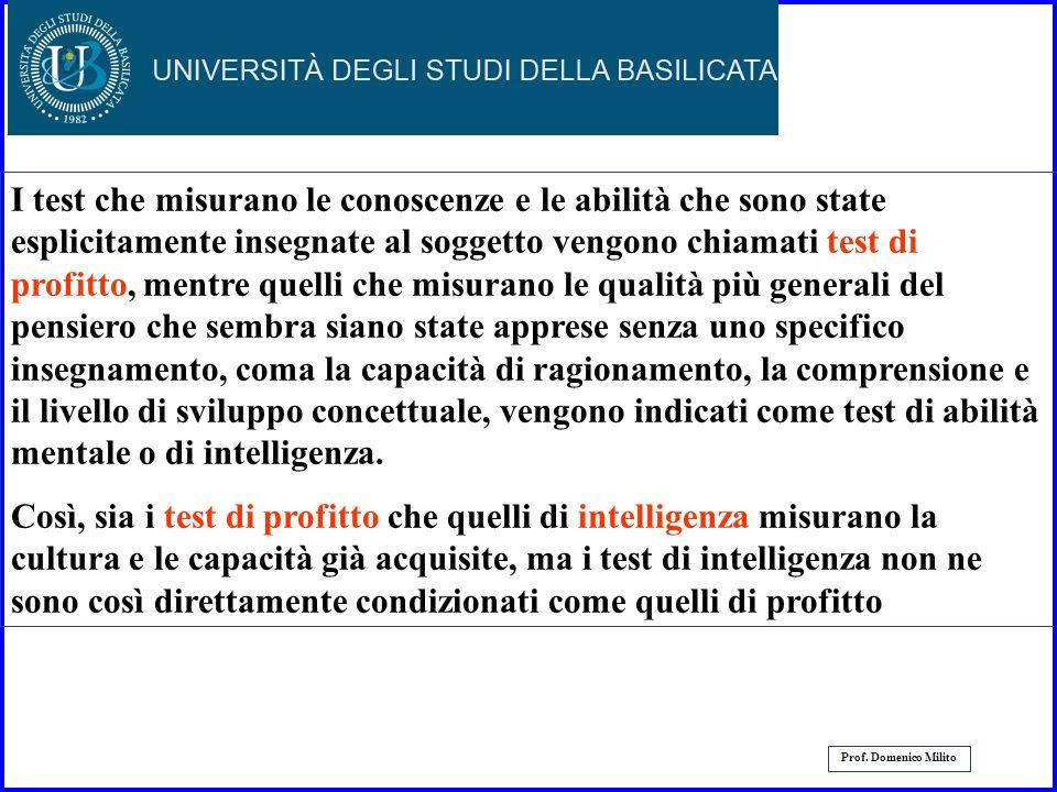 29 Prof. Domenico Milito -Test di abilità mentale Labilità mentale è stata misurata per molti anni con lutilizzo di test, ma non è stato mai raggiunto