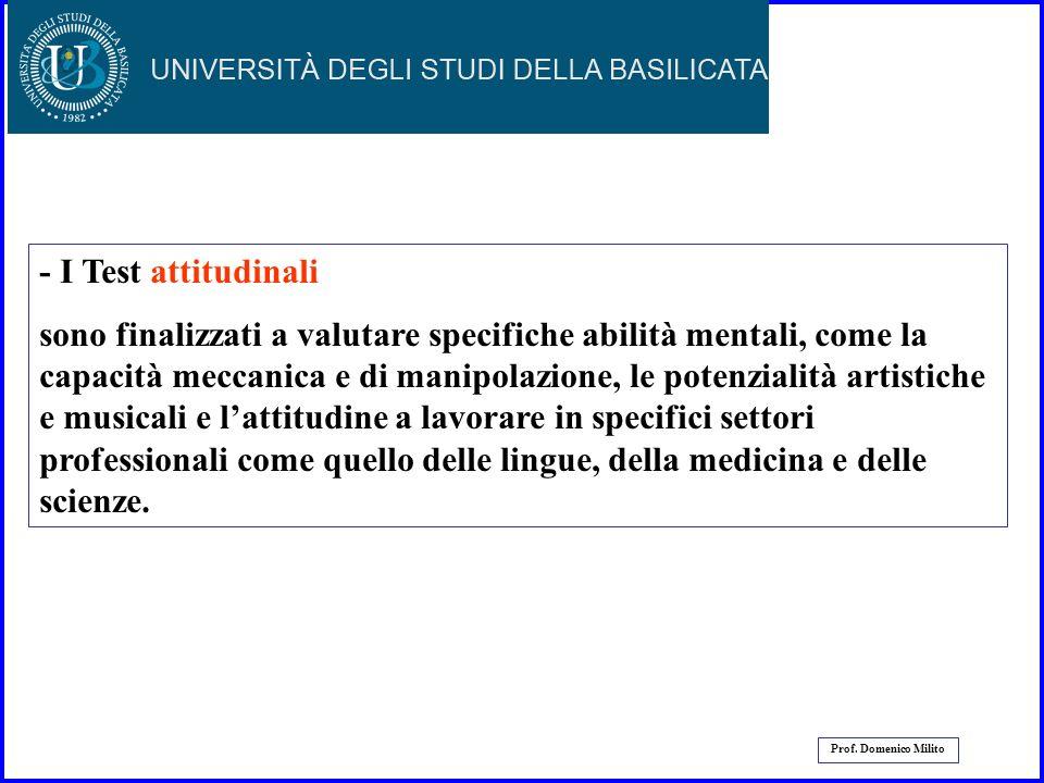 30 Prof. Domenico Milito I test che misurano le conoscenze e le abilità che sono state esplicitamente insegnate al soggetto vengono chiamati test di p